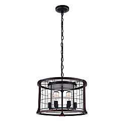 CWI Lighting Fetto 23 inch 6 Light Chandelier with Black Finish