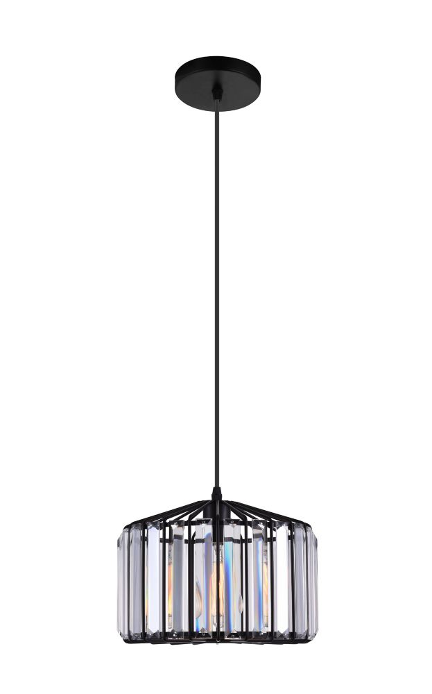 CWI Lighting Alethia 10 inch 1 Light Mini Chandelier with Black Finish