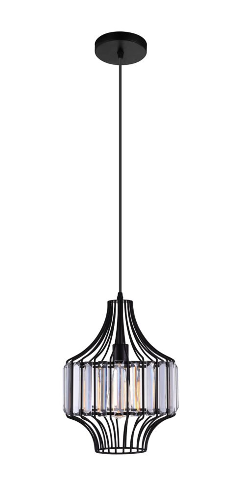 CWI Lighting Alethia 10 inch Single Light Mini Chandelier with Black Finish