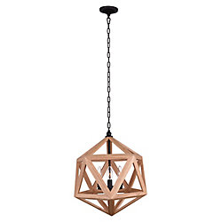 Lante 17 inch 3 Light Chandelier with Natural Wood Finish