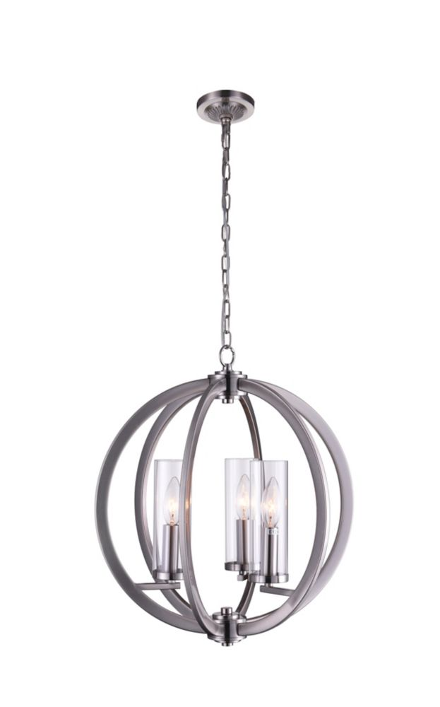 CWI Lighting Elton 16 inch 3 Light Chandelier with Satin Nickel Finish