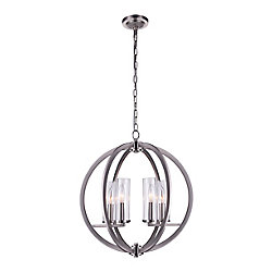 CWI Lighting Elton 19-inch 6-Light Chandelier with Satin Nickel Finish