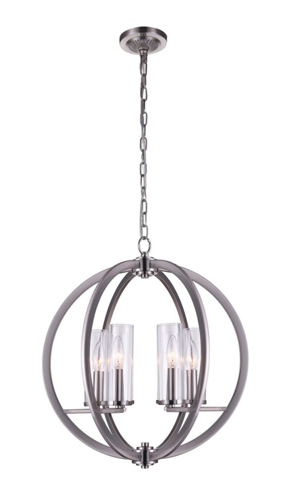 CWI Lighting Elton 19 inch 6 Light Chandelier with Satin Nickel Finish