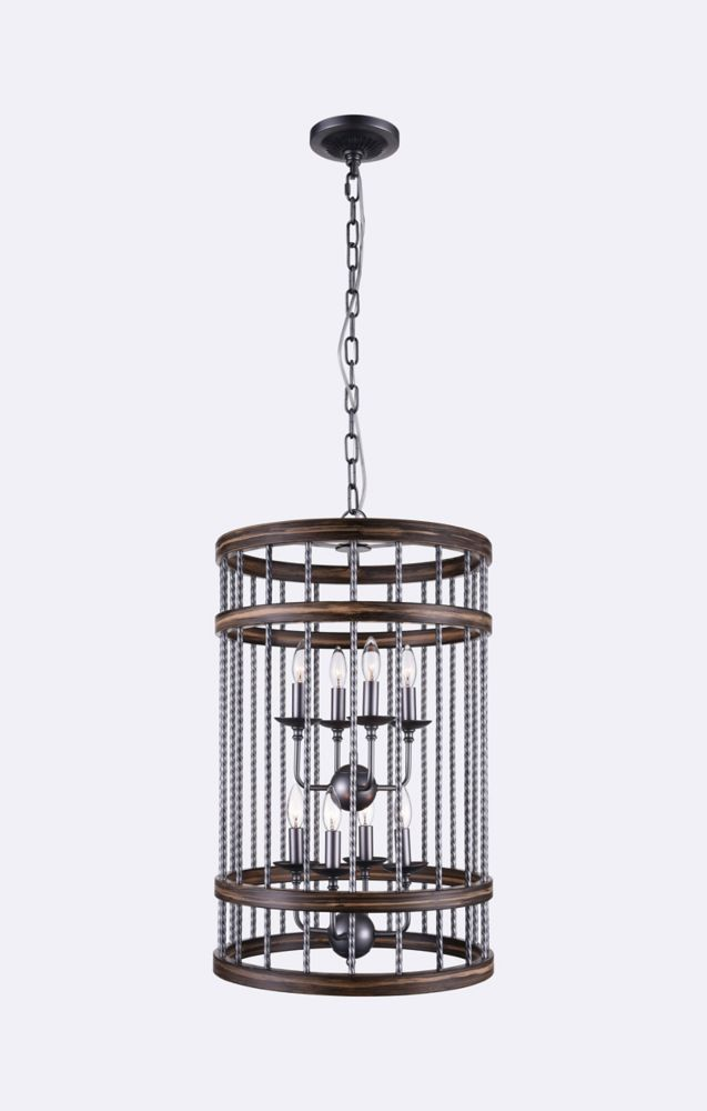 CWI Lighting Dene 18 inch 8 Light Chandelier with Gun Metal Finish
