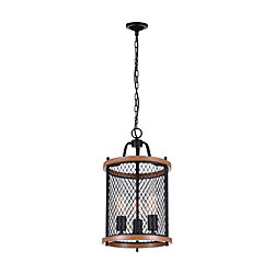 Kayan 12 inch 3 Light Chandelier with Black Finish