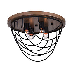 CWI Lighting Gala 18 inch 4 Light Flush Mount with Black Finish