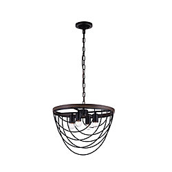 Gala 17 inch 4 Light Chandelier with Black Finish