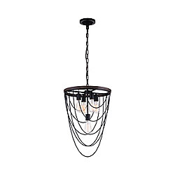 CWI Lighting Gala 17 inch 5 Light Chandelier with Black Finish