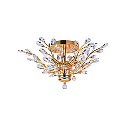 Ivy 22 inch 6 Light Flush Mount with Gold Finish