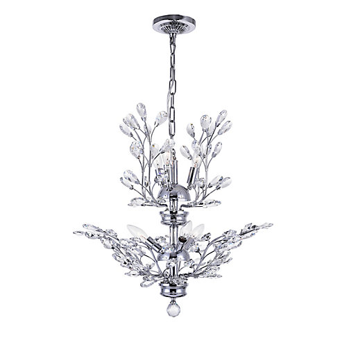 Ivy 22 inch 6 Light Chandelier with Chrome Finish