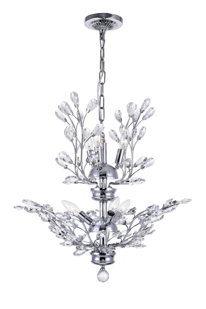 CWI Lighting Ivy 22 inch 6 Light Chandelier with Chrome Finish
