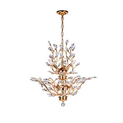 Ivy 28 inch 8 Light Chandelier with Gold Finish