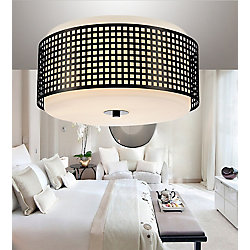 Checkered 15 inch 2 Light Flush Mount with Black Finish
