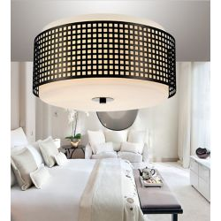 CWI Lighting Checkered 15 inch 2 Light Flush Mount with Black Finish