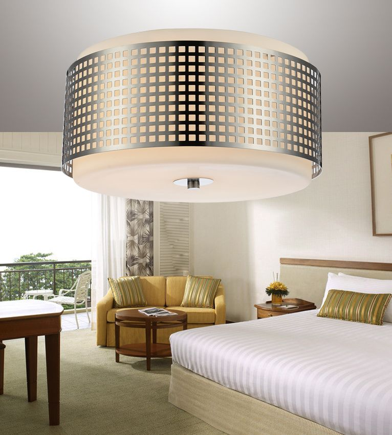 CWI Lighting Checkered 15 inch 2 Light Flush Mount with Satin Nickel Finish