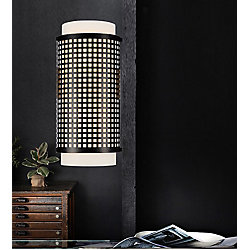 Checkered 3.5 inch 2 Light Wall Sconce with Black Finish