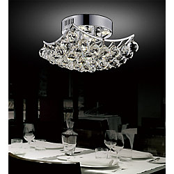 Queen 17 inch 6 Light Flush Mount with Chrome Finish