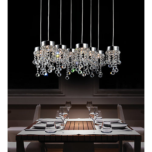Monica 26 inch 8 Light Chandelier with Chrome Finish