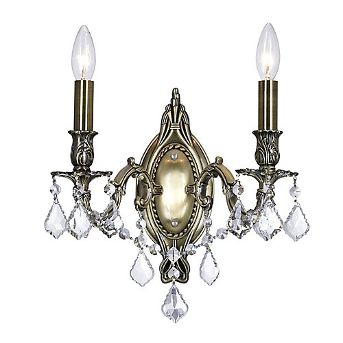 Brass 6 inch 2 Light Wall Sconce with Antique Brass Finish