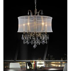 CWI Lighting Halo 22 inch 5 Light Chandelier with Antique Brass Finish