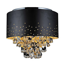 CWI Lighting Carmella 18 inch 5 Light Flush Mount with Black Finish