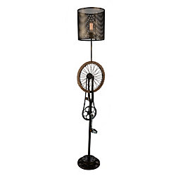 Bici 15 inch 1 Light Floor Lamp with Antique Brass Finish