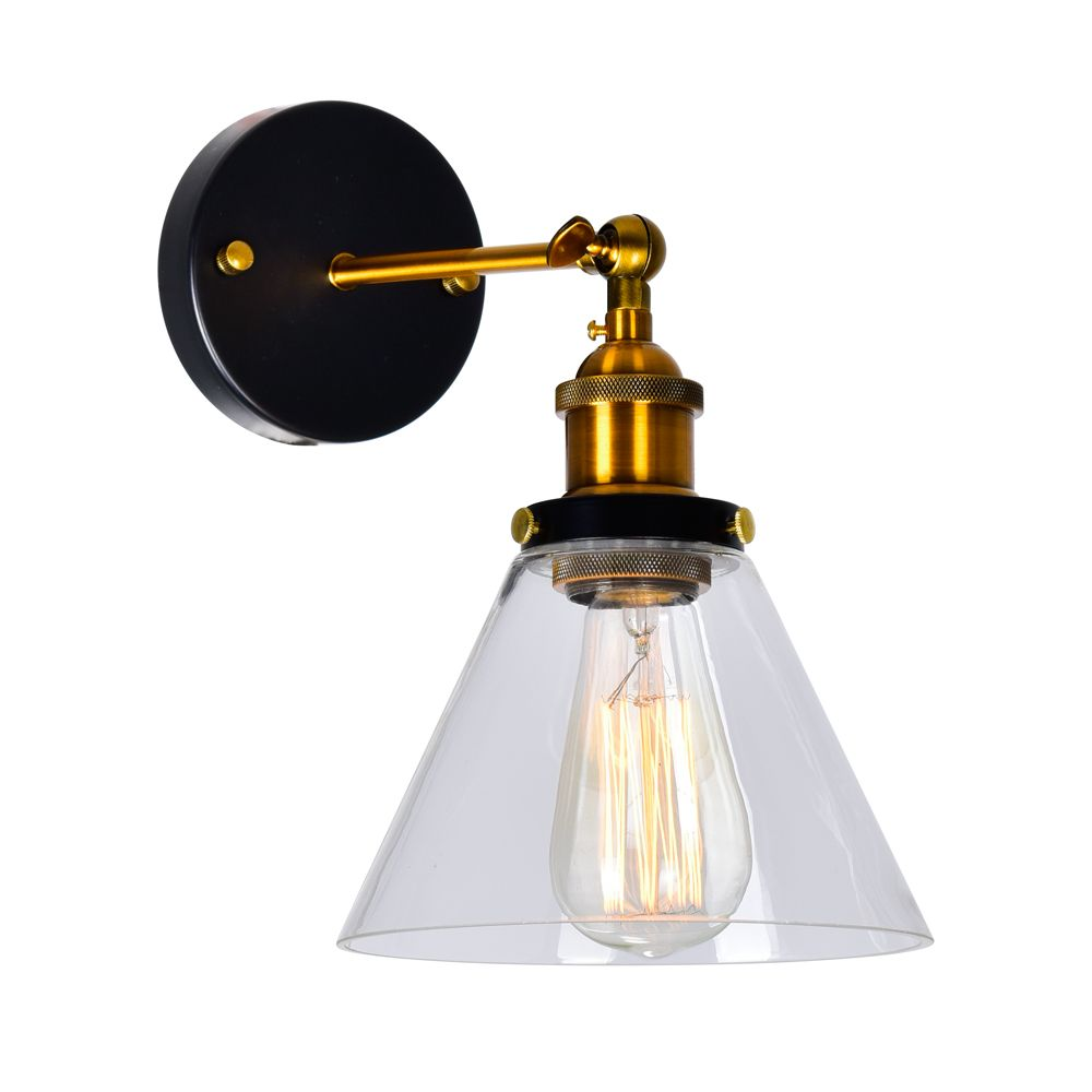CWI Lighting Eustis 11 inch 1 Light Wall Sconce with Black & Gold Brass Finish