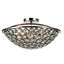 Wallula 18 inch 3 Light Flush Mount with Satin Nickel Finish