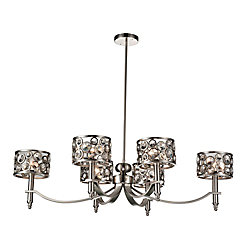 Wallula 40 inch 6 Light Chandelier with Satin Nickel Finish