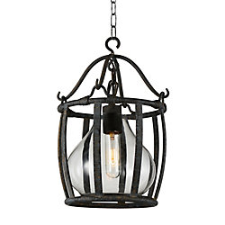 CWI Lighting Imperial 16 inch 1 Light Chandelier with Antique Black Finish