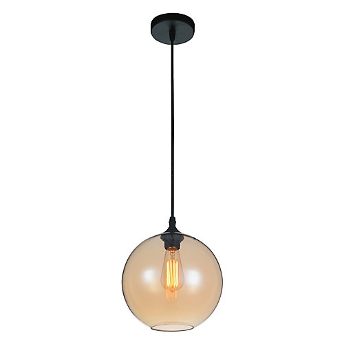 Glass 10 inch 1 Light Mini Pendant with Transparent Amber Shade