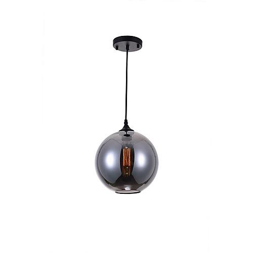 Glass 10 inch 1 Light Mini Pendant with Transparent Smoke Shade