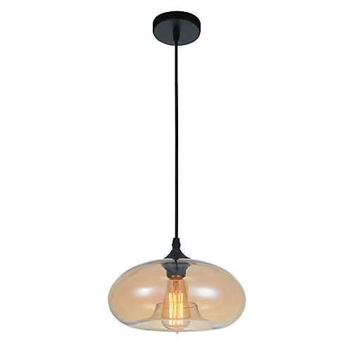 Glass 11 inch Single Light Mini Pendant with Transparent Amber Shade