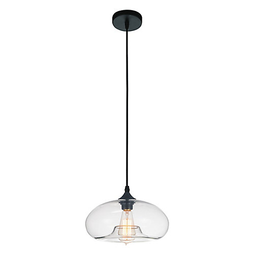 Glass 11-inch 1 Light Pendant with Transparent Shade