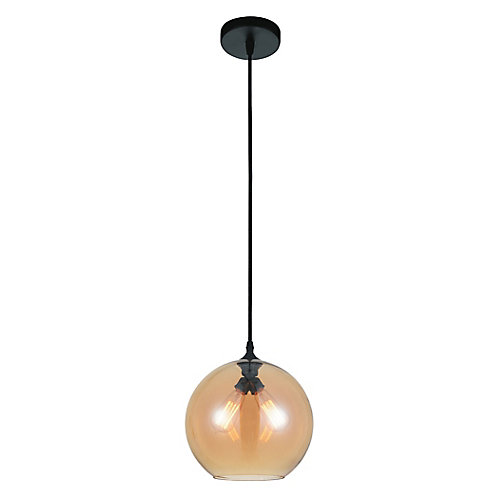 Glass 12-inch 2-Light Mini Pendant Light Fixture with Transparent Amber Shade