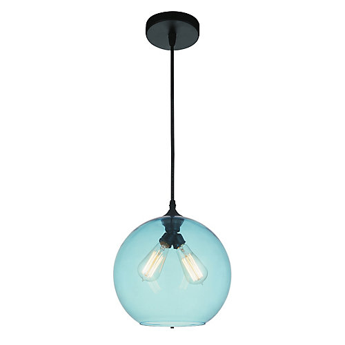 Glass 12 inch 2 Light Mini Pendant with Transparent Blue Shade