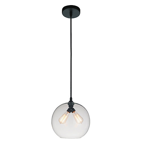 Glass 12 inch 2 Light Mini Pendant with Transparent Shade