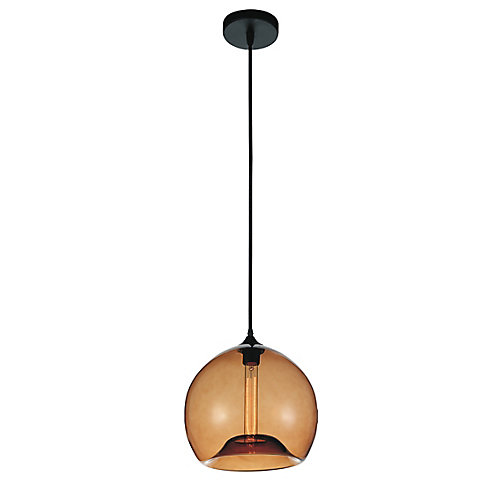 Glass 12 inch 1 Light Mini Pendant with Transparent Amber Shade
