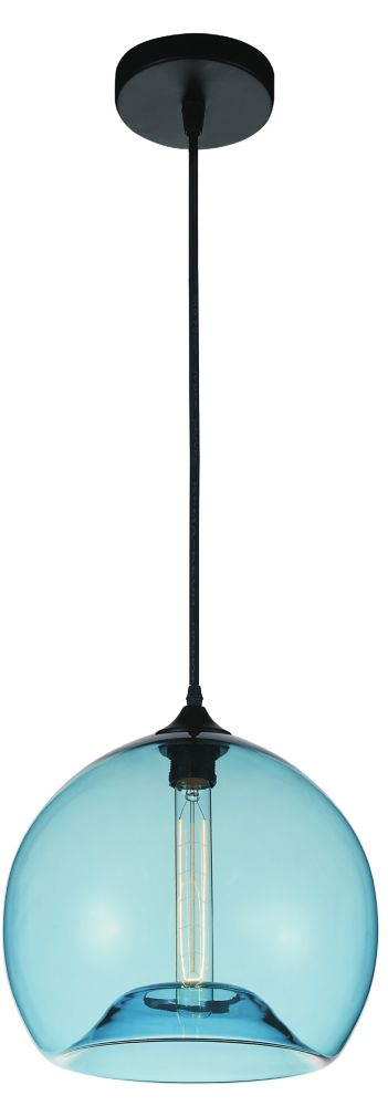 CWI Lighting Glass 12-inch 1-Light Mini Pendant Light Fixture with Transparent Blue Shade