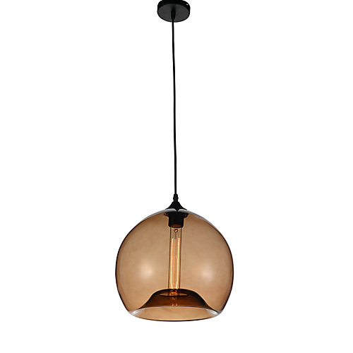 Glass 12 inch 1 Light Mini Pendant with Transparent Brown Shade