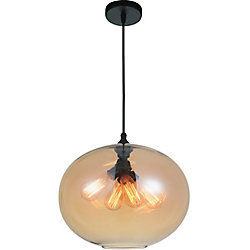 Glass 16-inch 4-Light Chandelier with Transparent Amber Shade