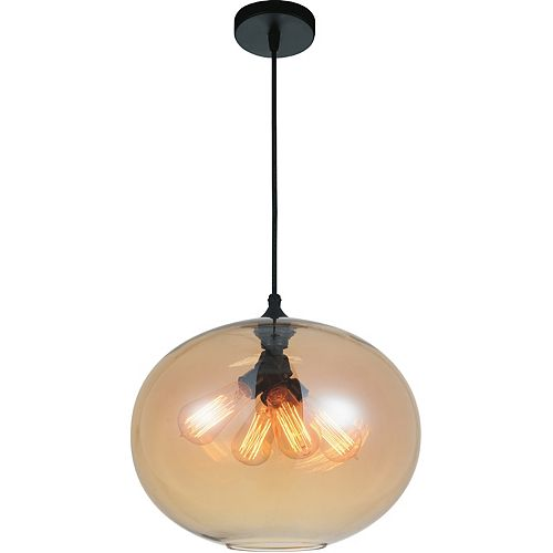 CWI Lighting Glass 16-inch 4-Light Chandelier with Transparent Amber Shade
