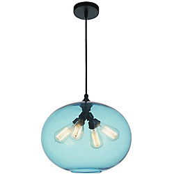 Glass 16 inch 4 Light Chandelier with Transparent Blue Shade