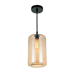 Glass 7-inch Single Light Pendant with Transparent Amber Shade