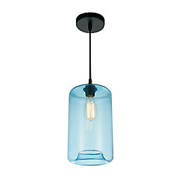 Glass 7-inch 1 Light Mini Pendant with Transparent Blue Shade