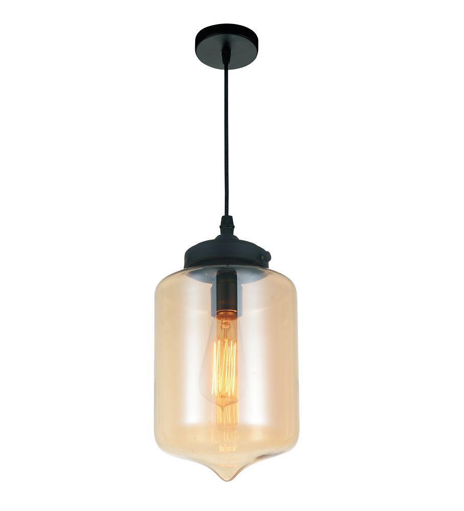 CWI Lighting Glass 7-inch Single Light Mini Pendant with Transparent Cognac Shade