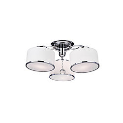 Frosted 24 inch 3 Light Flush Mount with Chrome Finish