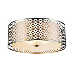 Mikayla 17 inch 3 Light Flush Mount with Satin Nickel Finish