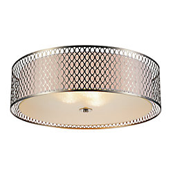 CWI Lighting Mikayla 22 inch 3 Light Flush Mount with Satin Nickel Finish