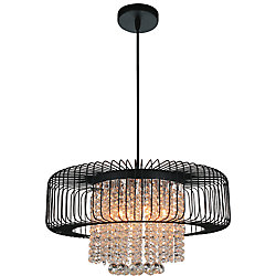CWI Lighting Gloria 22-inch 8-Light Chandelier with Black Finish